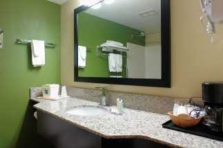 Jacksonville NC Quality Inn Hotel - Granite counter bathrooms at the Quality Inn Jacksonville